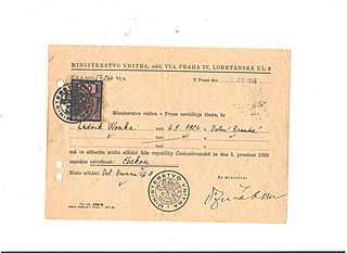 cESeskaE naE rodnost LudviE ka Wonky potvrzeniE MV CESSR 1930